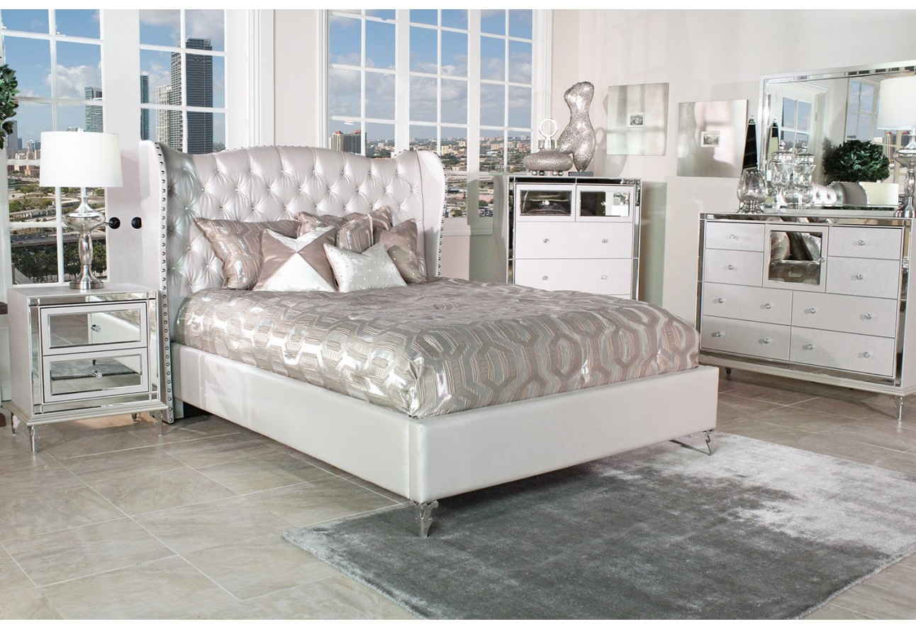 Image of: Silver Hollywood Swank Bedroom Set