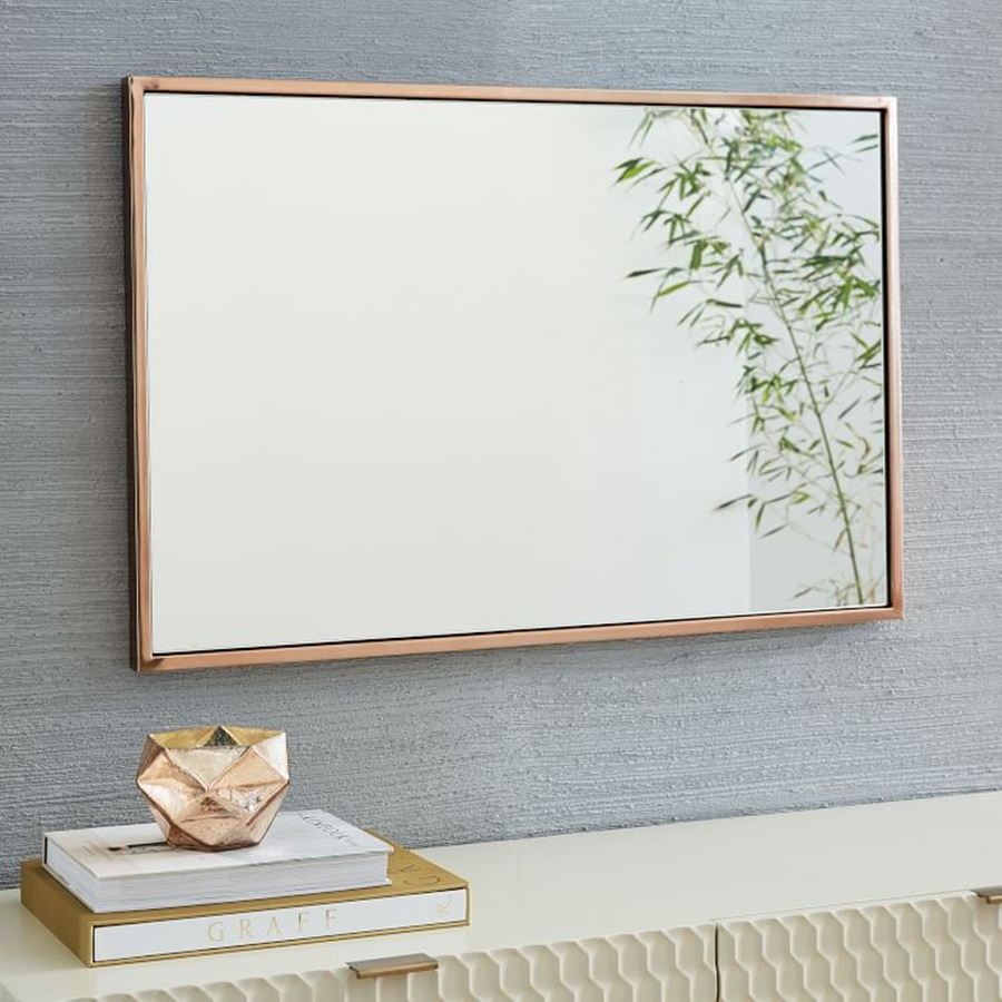 Image of: Simple Gold Framed Wall Mirror