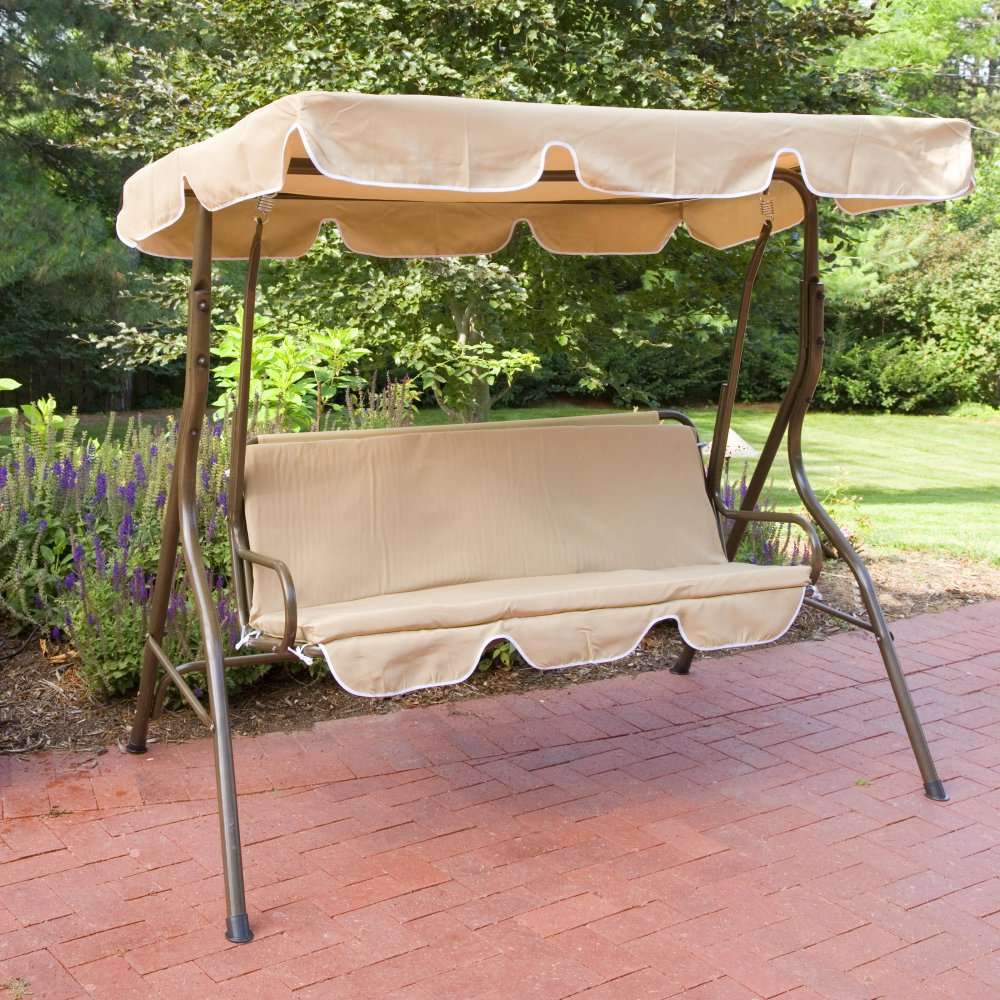 Image of: Single Outdoor Glider with Canopy