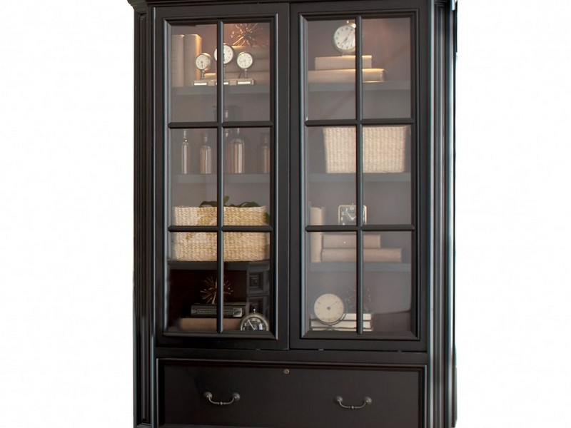 Image of: Slidding Door Glass Front Bookcase