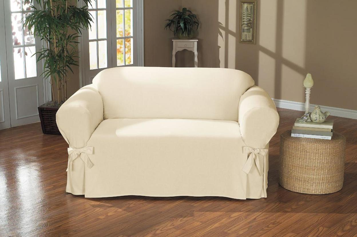 Image of: Slipcover Sofa White