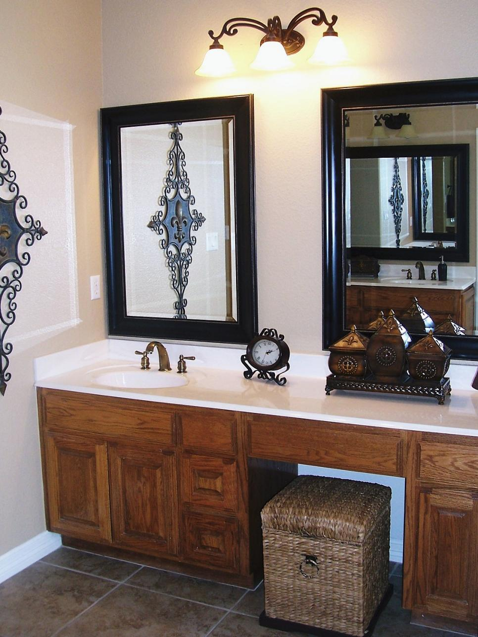 Image of: Small Bathroom Mirrors Frame