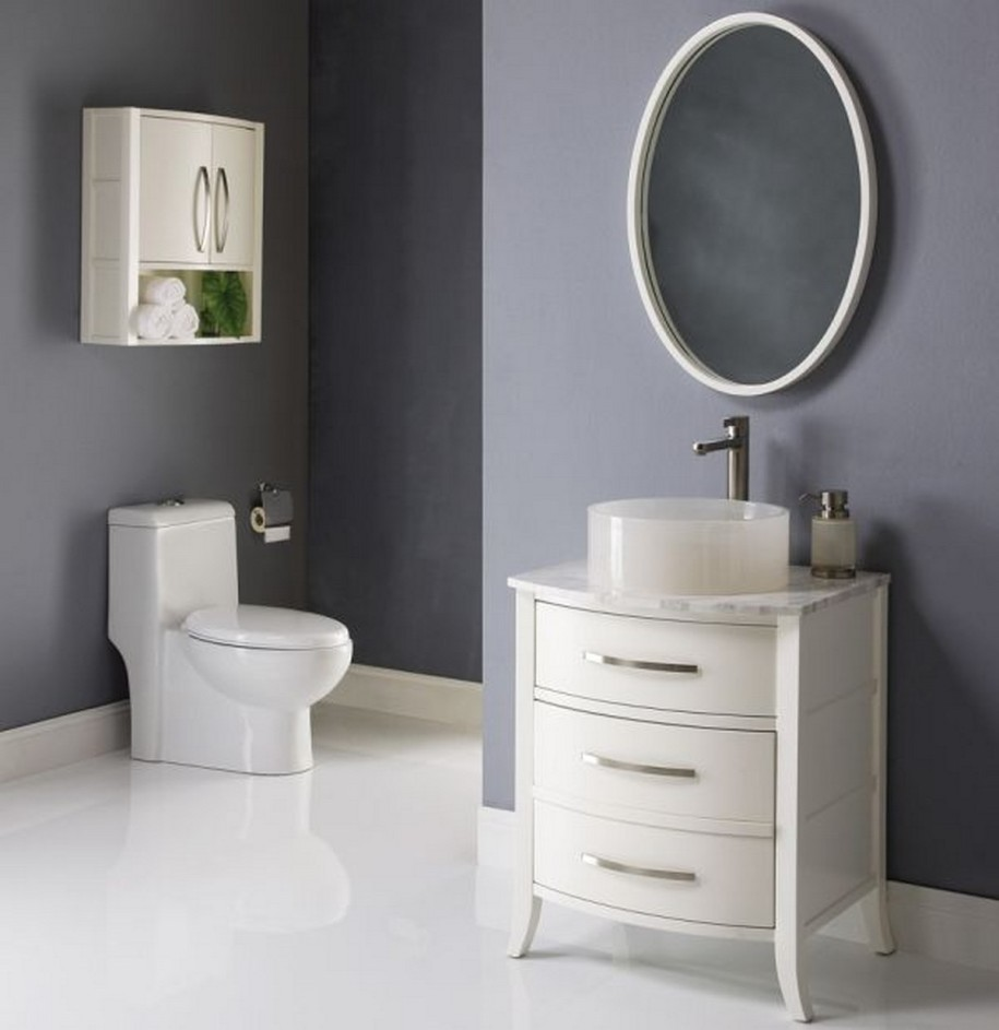 Image of: Small Bathroom Mirrors Round