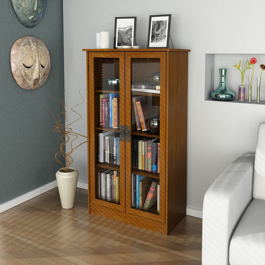 Small Glass Front Bookcase