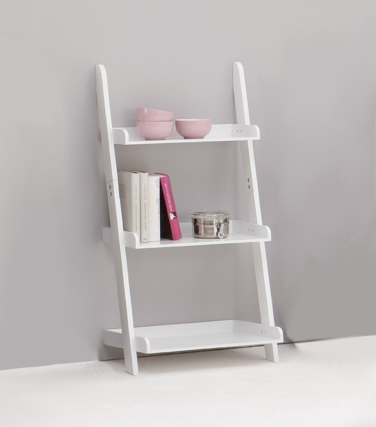 Image of: Small White Ladder Bookcase