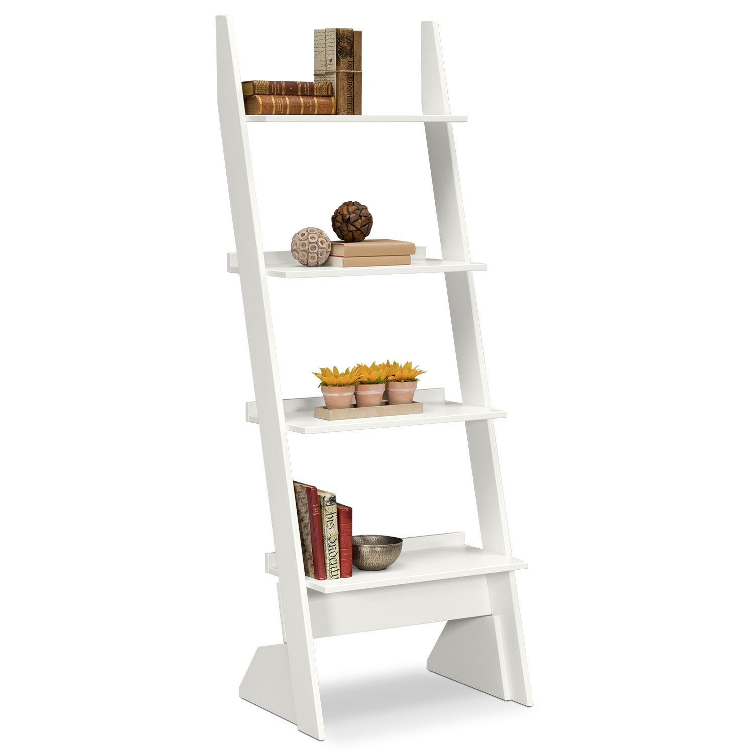 Image of: Smart White Ladder Bookcase