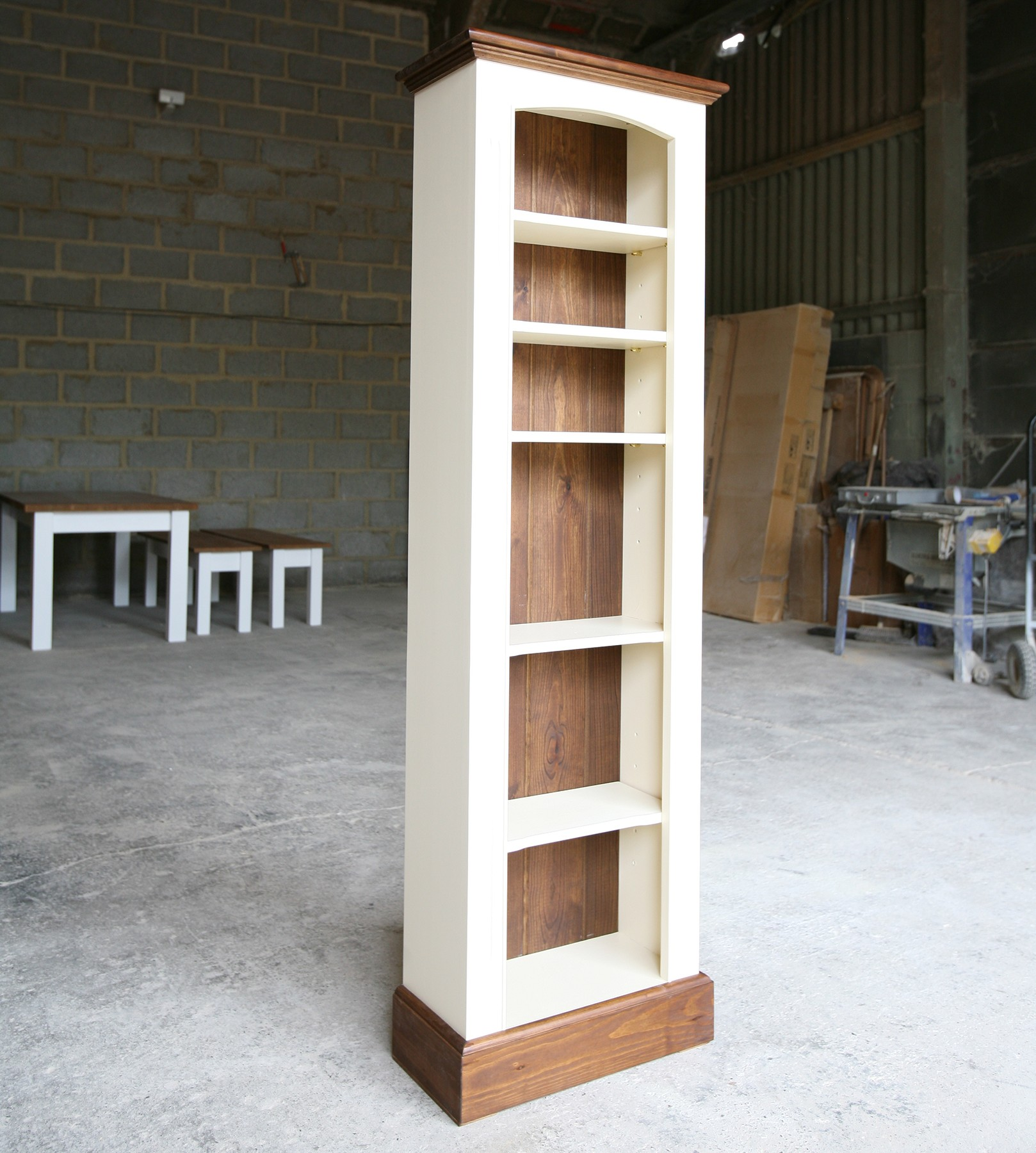 Image of: Solid Pine Slim Bookcase