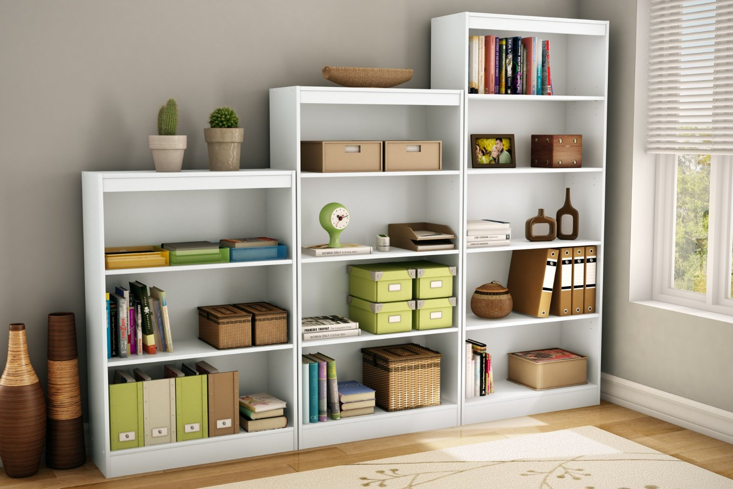 Image of: South Shore Bookcase White 5 Shelf