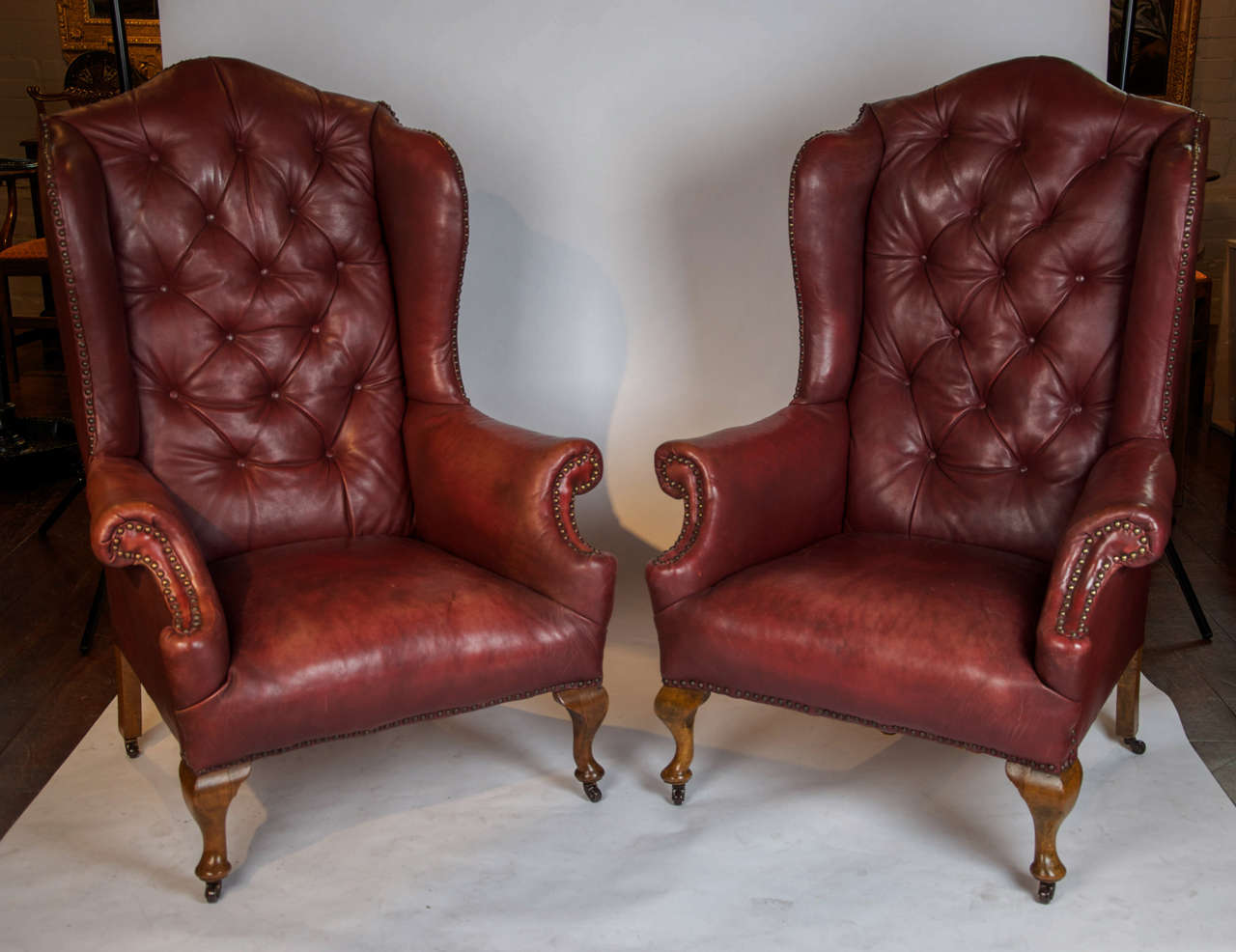 Image of: stylish leather wingback chair