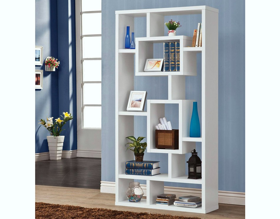Image of: Tall Modern White Bookcase