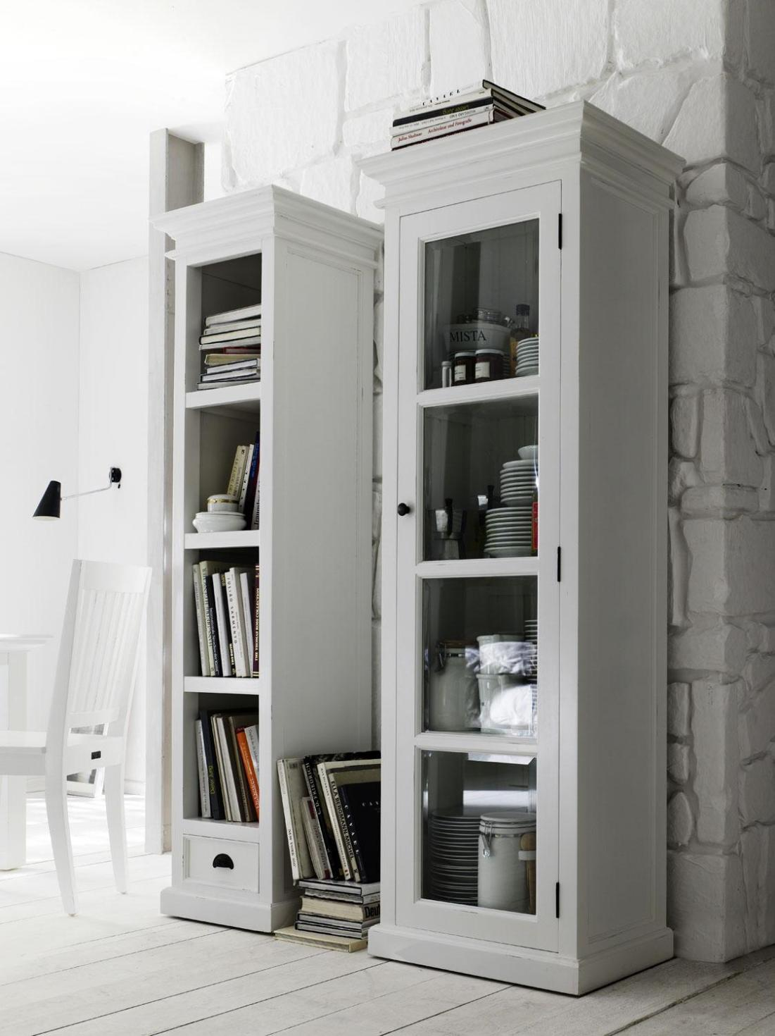 Image of: Modern Tall Narrow Bookcase White Ideas
