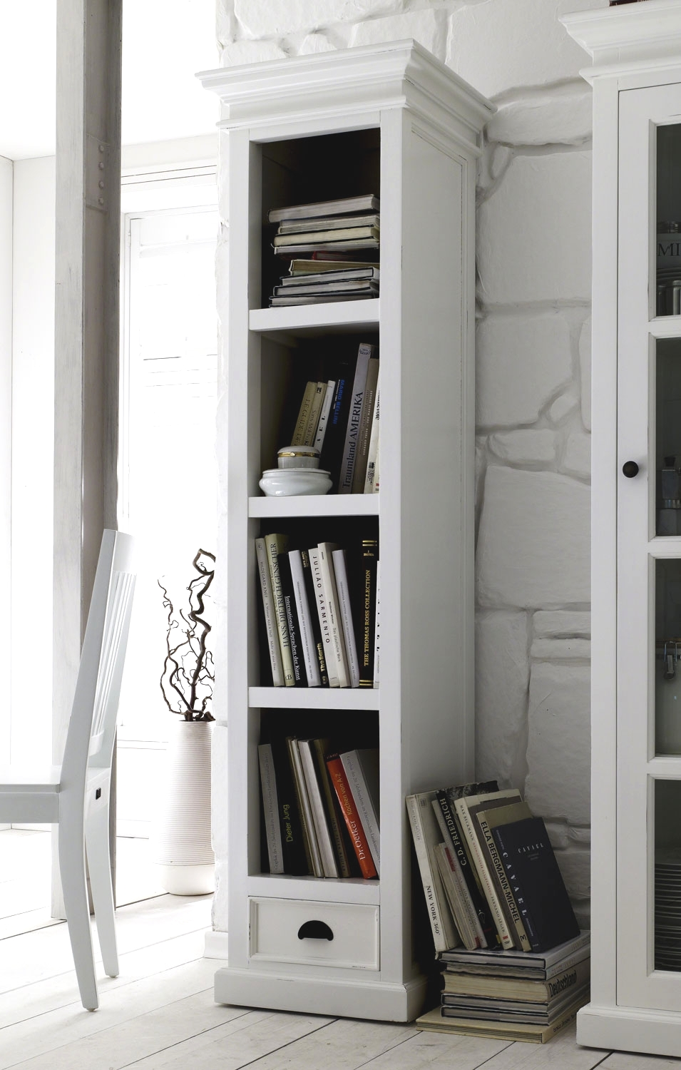 Image of: Tall White Bookcase Bookshelves Home Depot