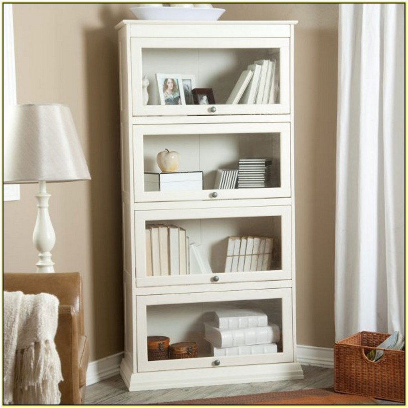 Image of: Tall White Bookcase  glass