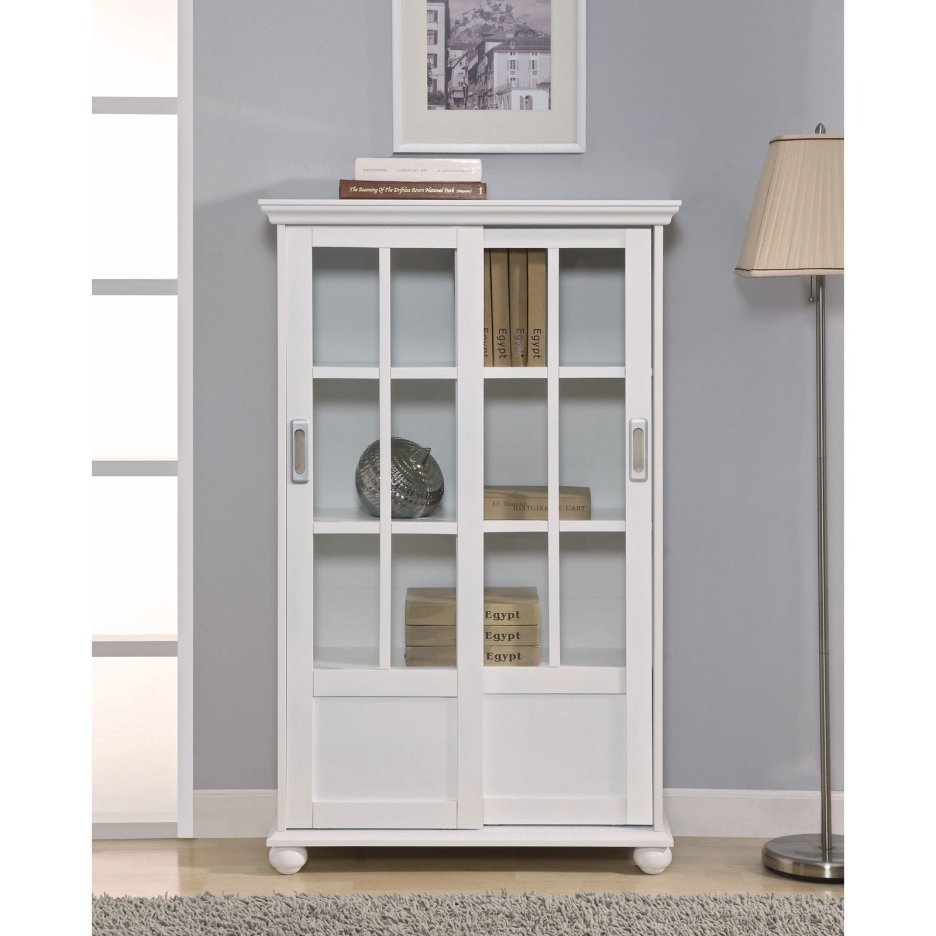 Tall White Bookcases with Doors