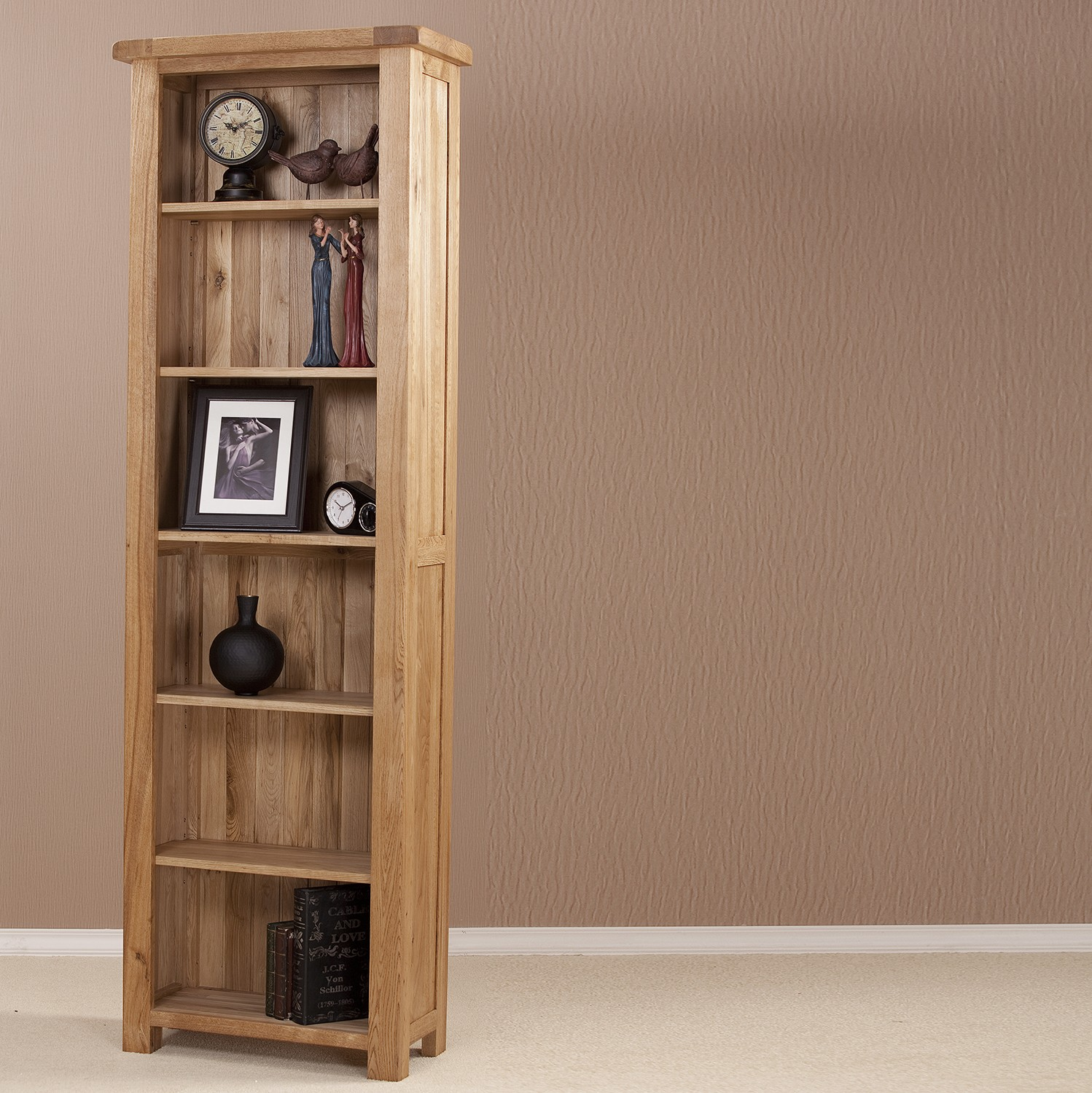 Image of: Tall narrow bookcase glow