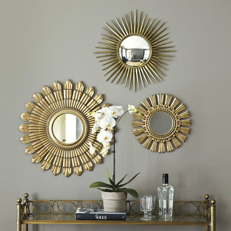 Image of: Three Sunburst Wall Mirror