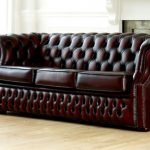 cute tufted leather chair and ottoman used