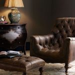tufted leather chair with bun feet