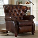 tufted leather chair with nail head trim