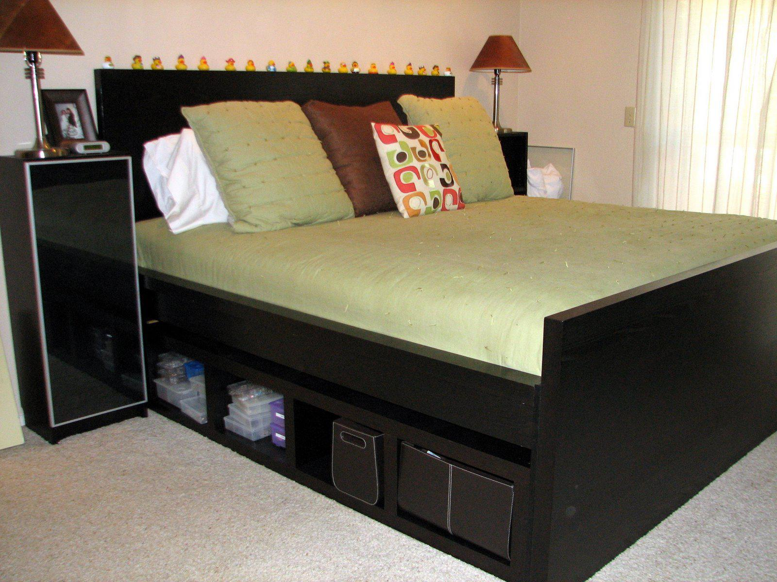 Image of: Twin Bed Frame With Drawers And Headboard