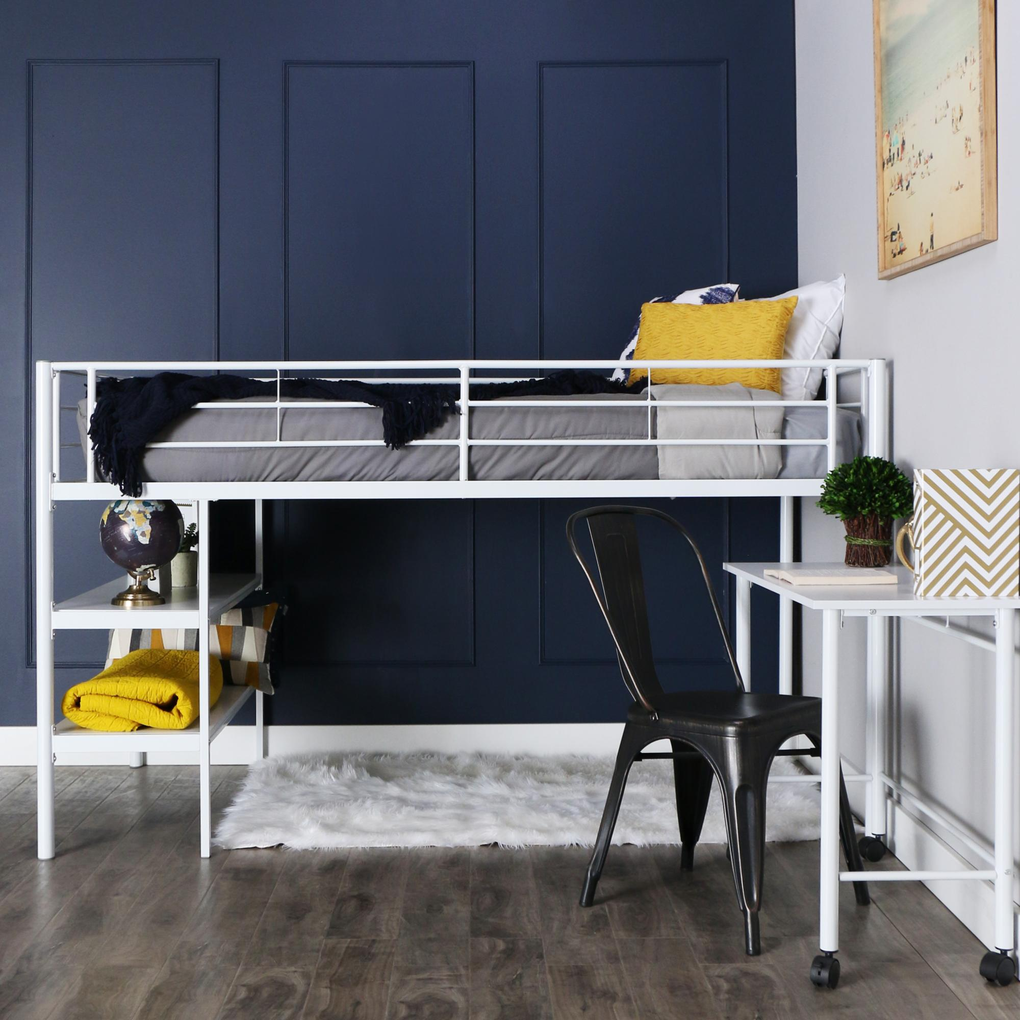 Image of: Twin Loft Bed With Desk And Stairs