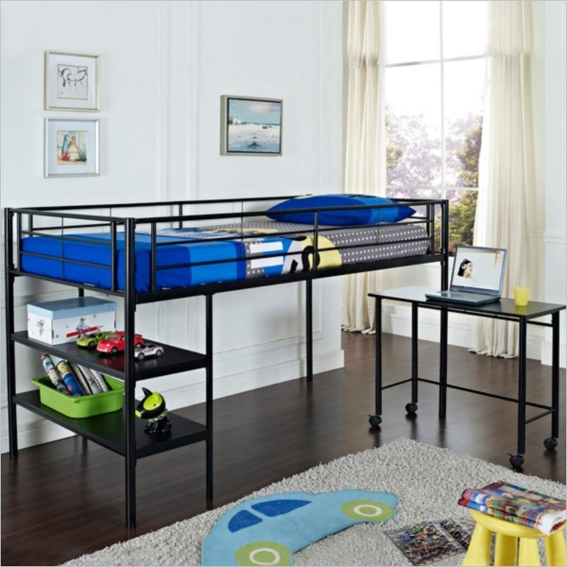 Image of: Twin Loft Bed With Desk Ikea