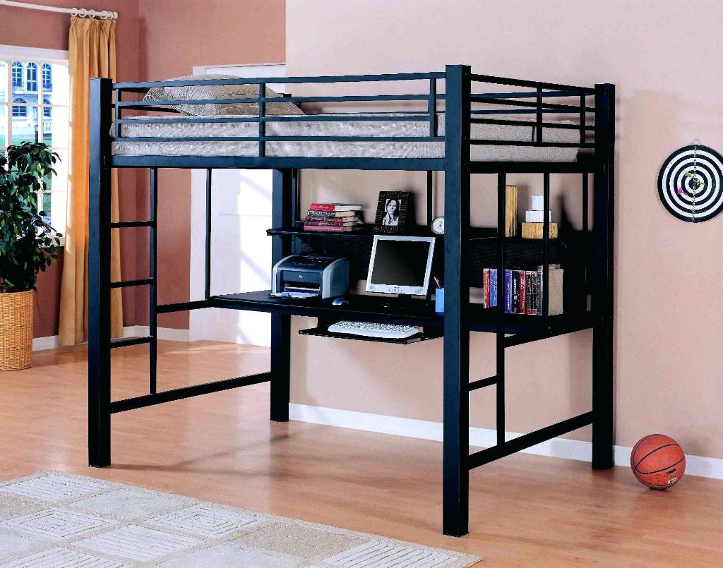 Image of: Twin Loft Bed With Desk Metal