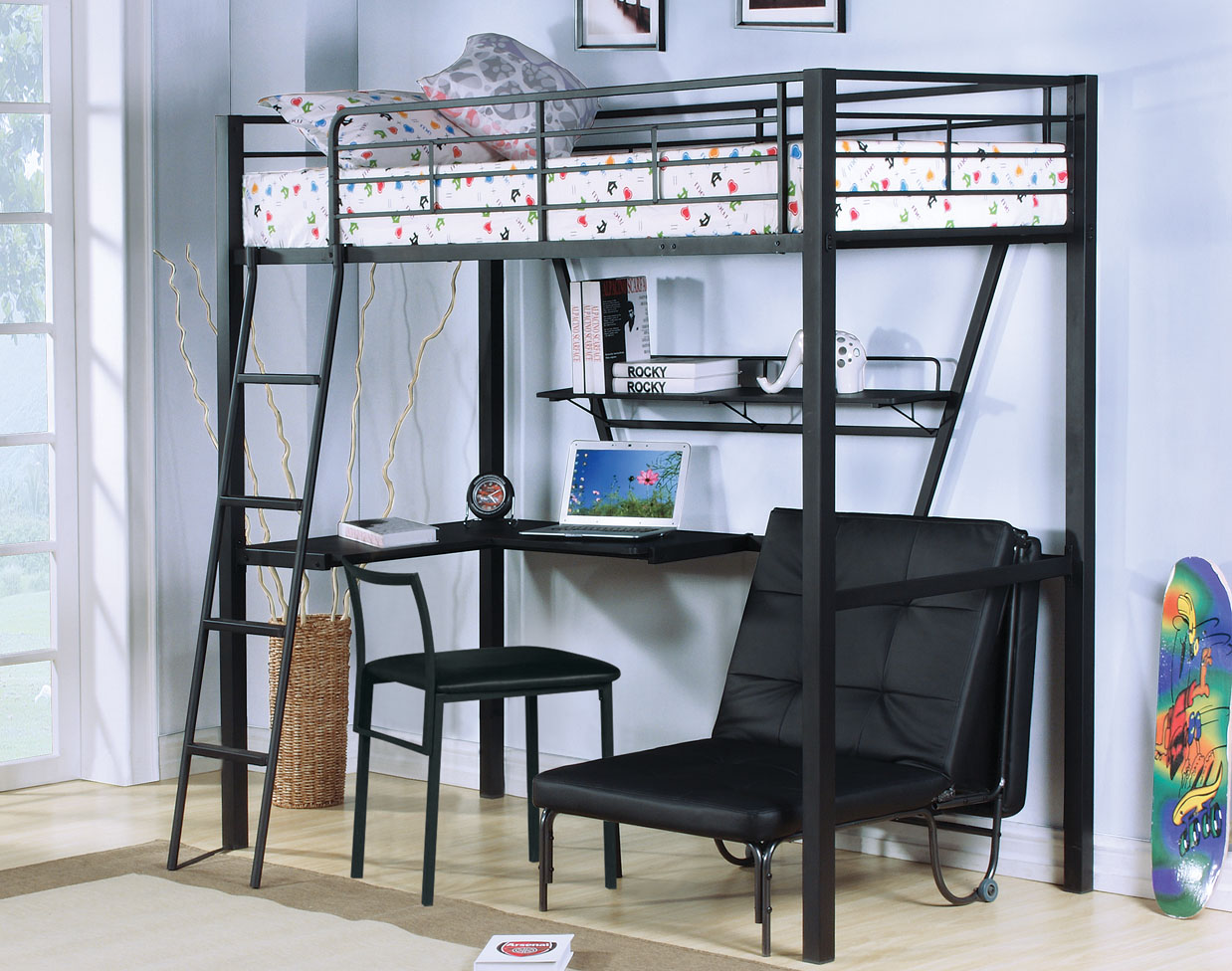 Image of: Twin Loft Bed With Desk Plans