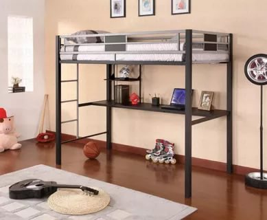 Image of: Twin Loft Bed With Desk White