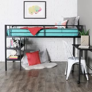 Image of: Twin Loft Bed With Desk Wood