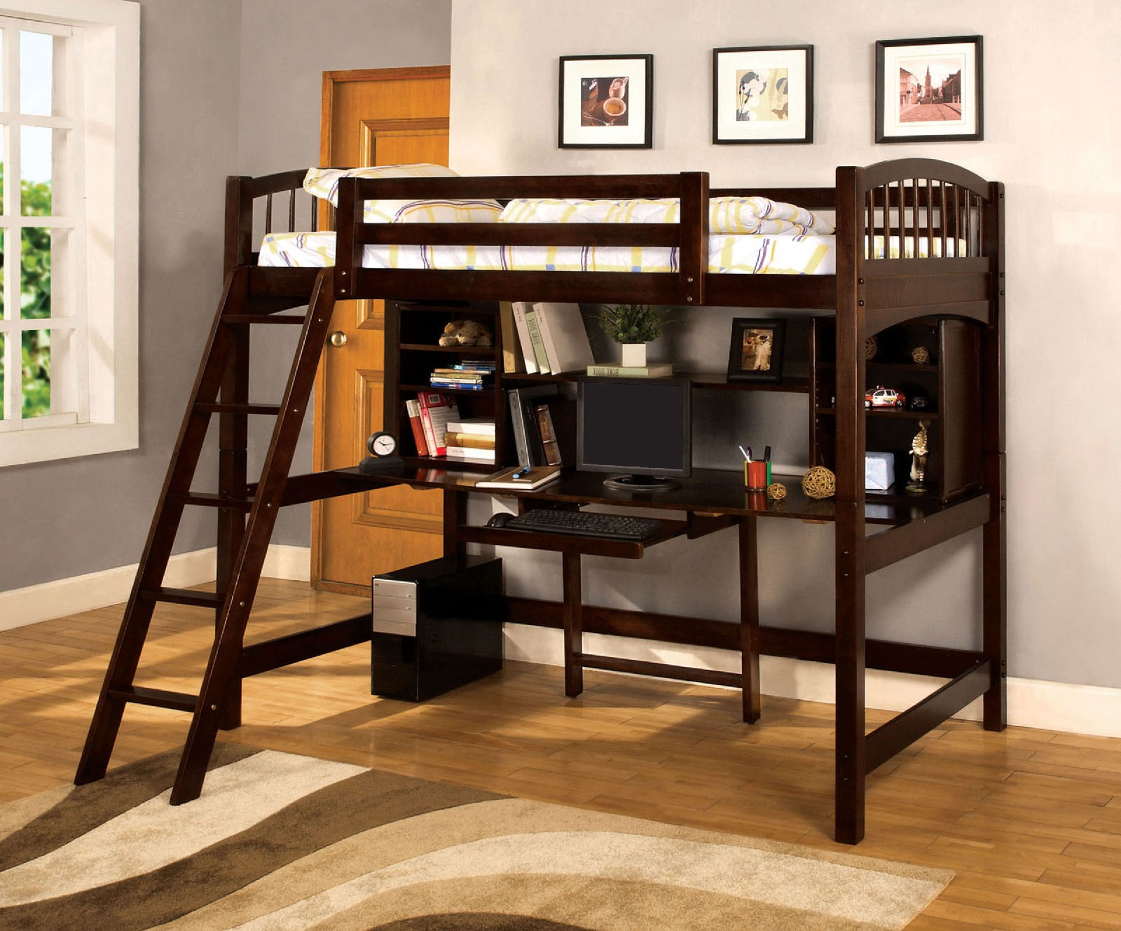 Image of: Twin Loft Bed With Desk