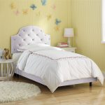 Twin Upholstered Headboard White Pastel