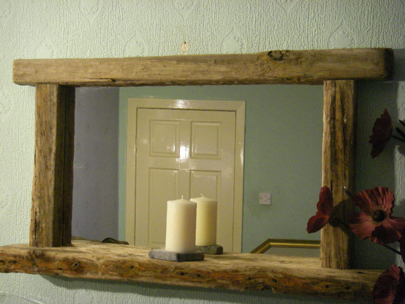 Image of: Unique Reclaimed Wood Bathroom Mirror