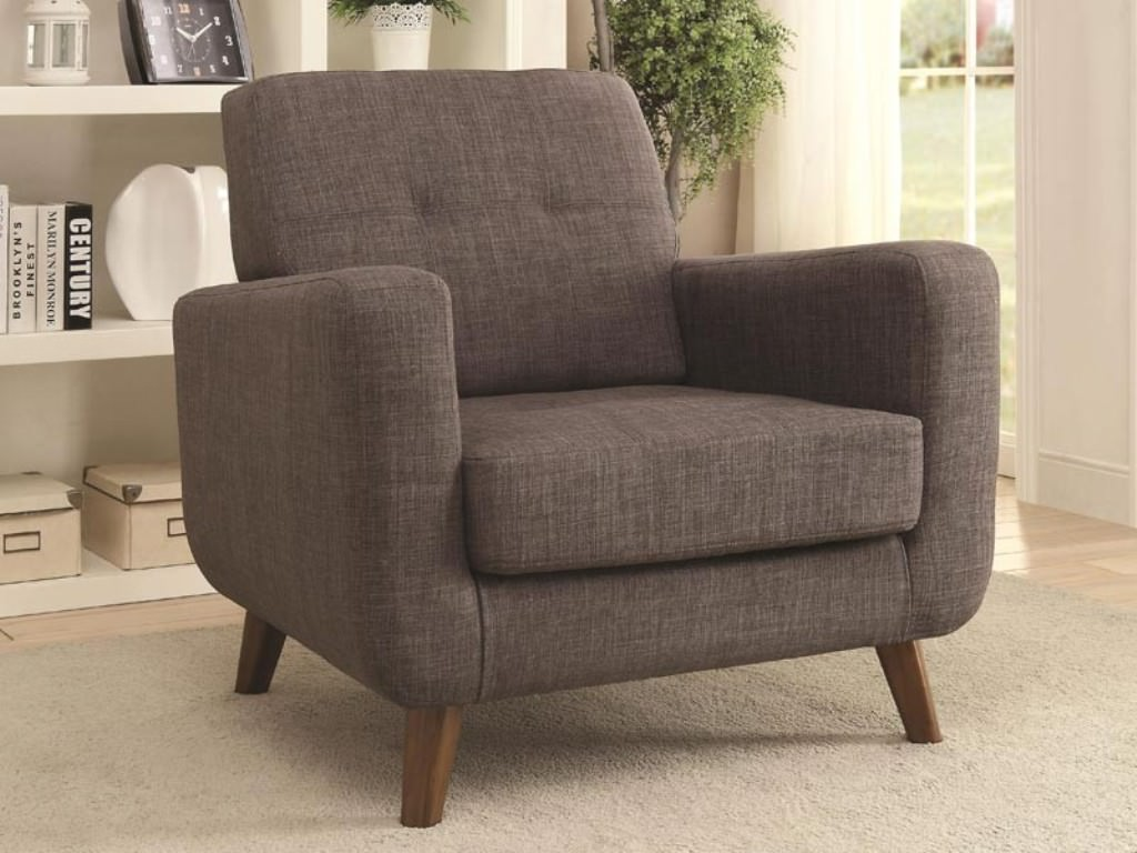 upholstered arm chair grey