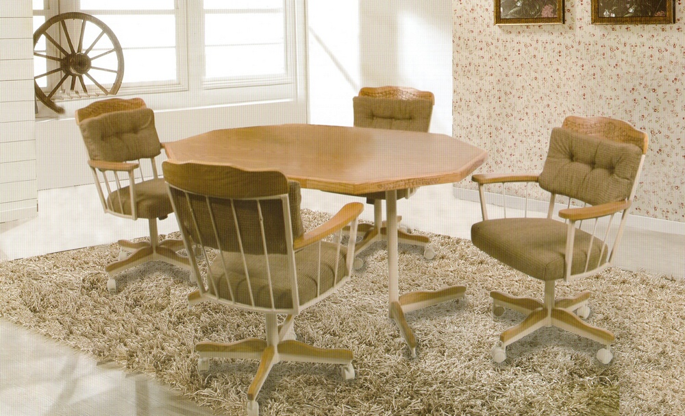 Image of: Upholstered Dining Chairs with Casters