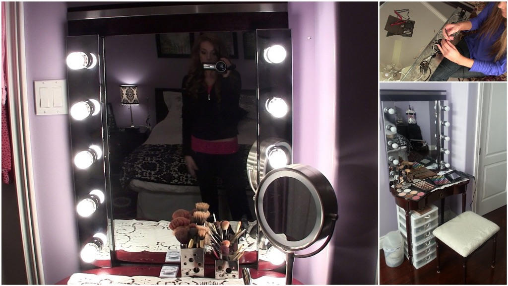 Image of: Vanity Mirror with Light Bulbs Blue