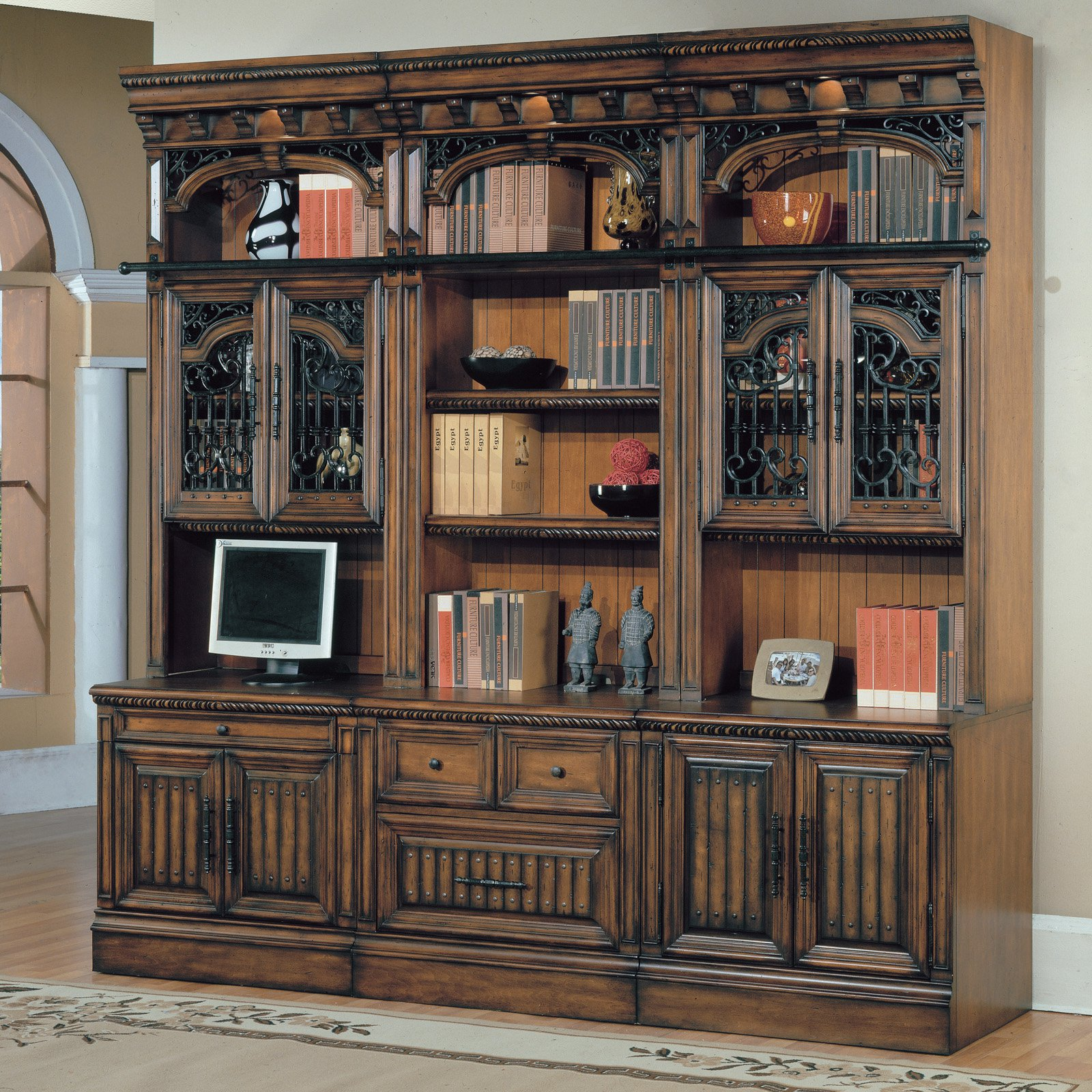 Image of: Vintage Bookcase With Glass Doors