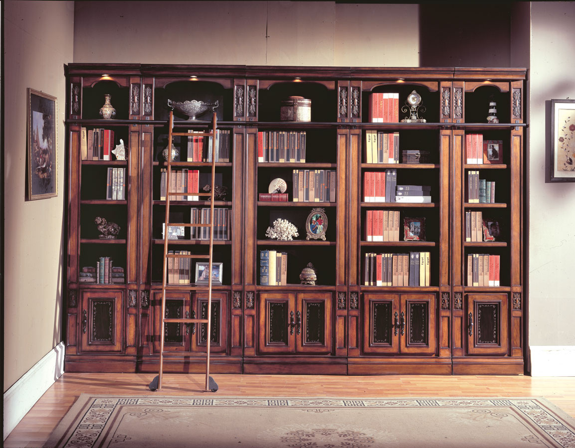 Image of: Vintage Library Bookcase with Ladder