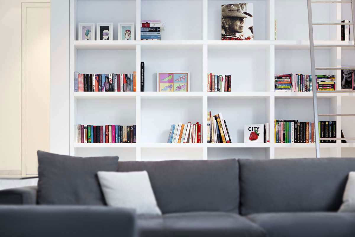 Image of: Wall Modern White Bookcase