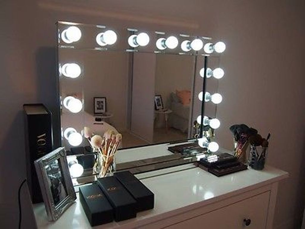 Image of: Wall Mount Makeup Mirror Brass
