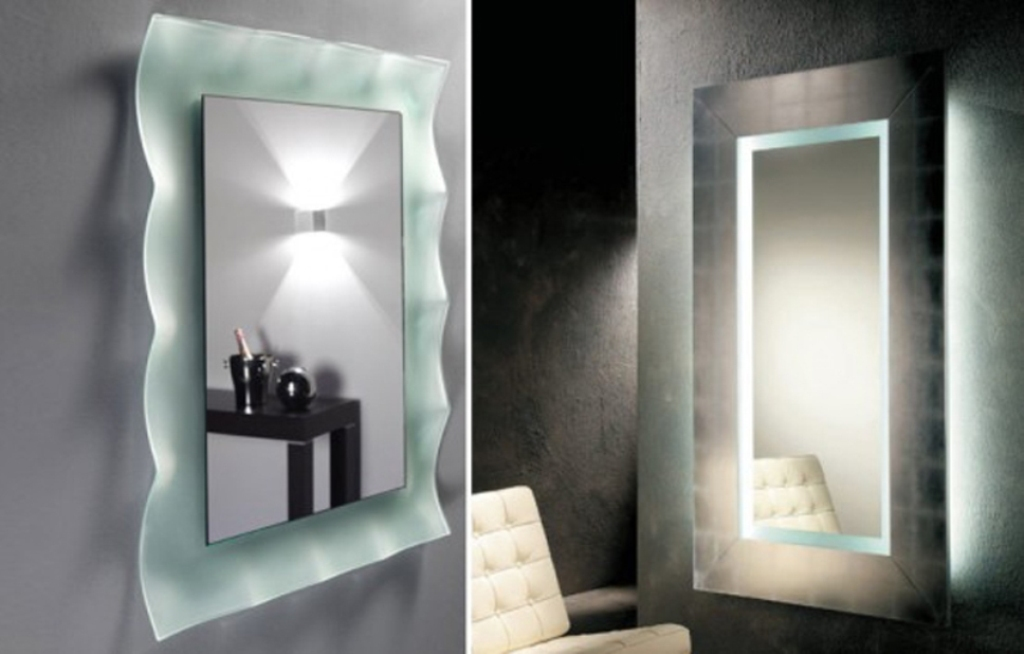Image of: Wall Mounted Makeup Mirror Gold