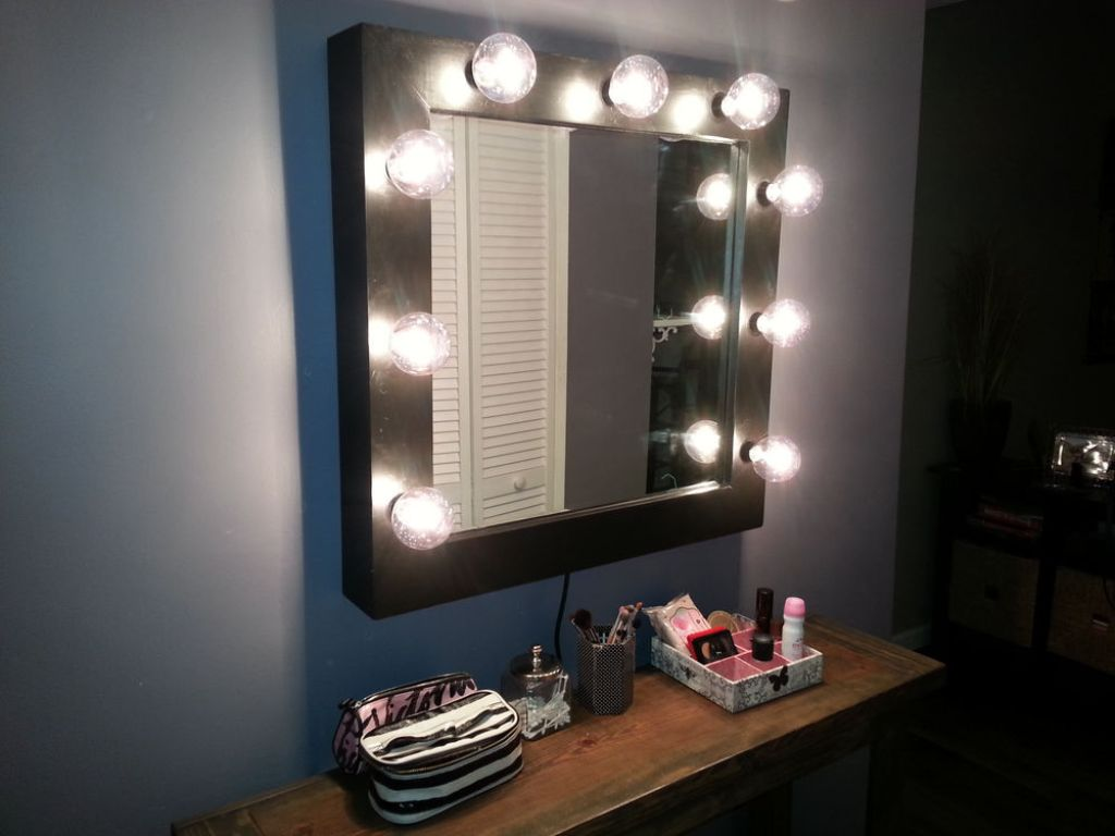 Image of: Wall Mounted Makeup Mirror Height