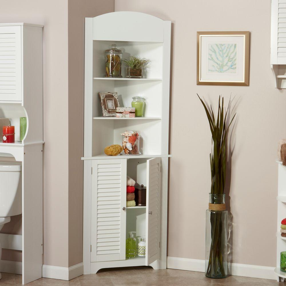 Image of: white bathroom linen cabinets