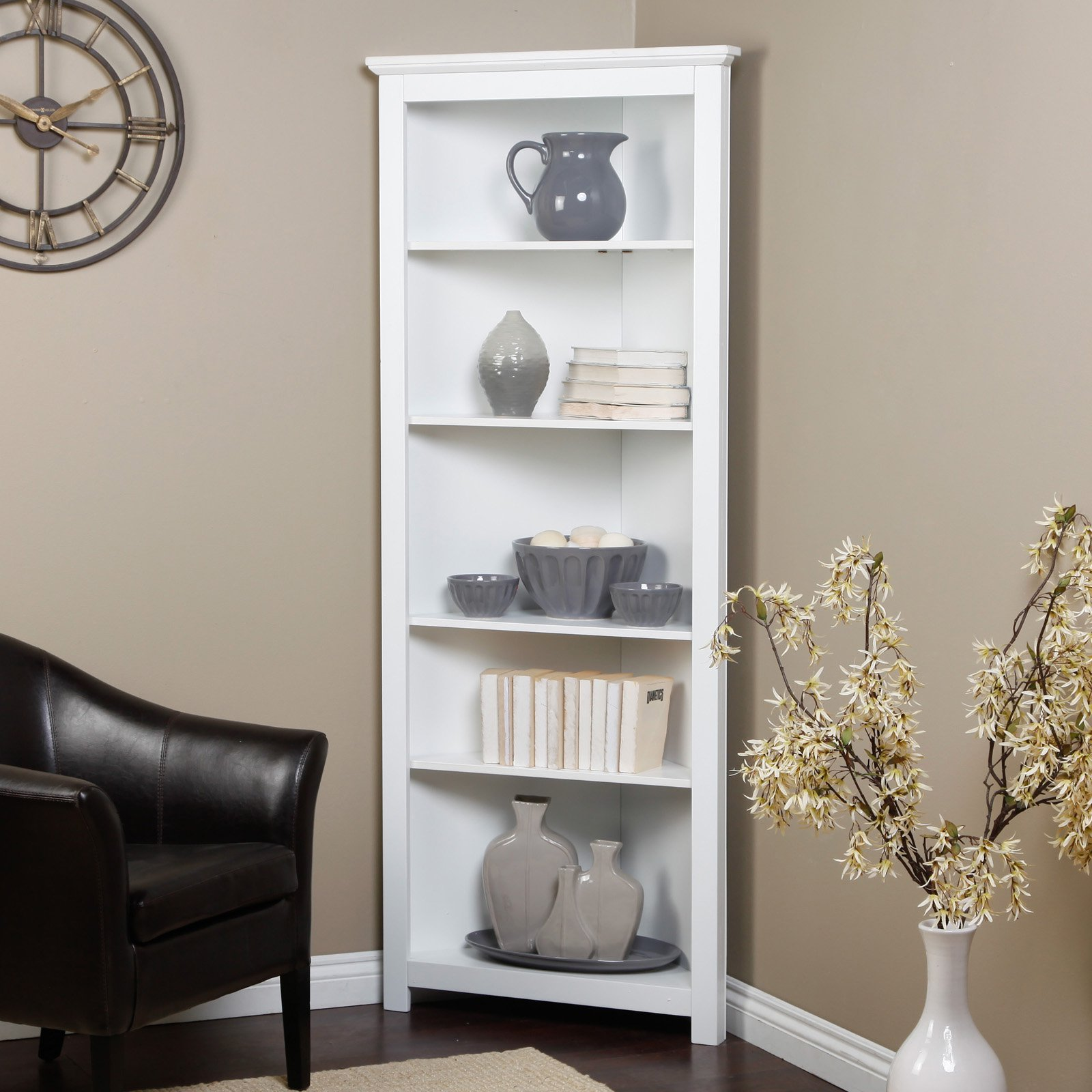 Image of: White Corner Bookcase