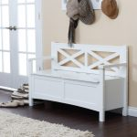 white entryway bench with storage