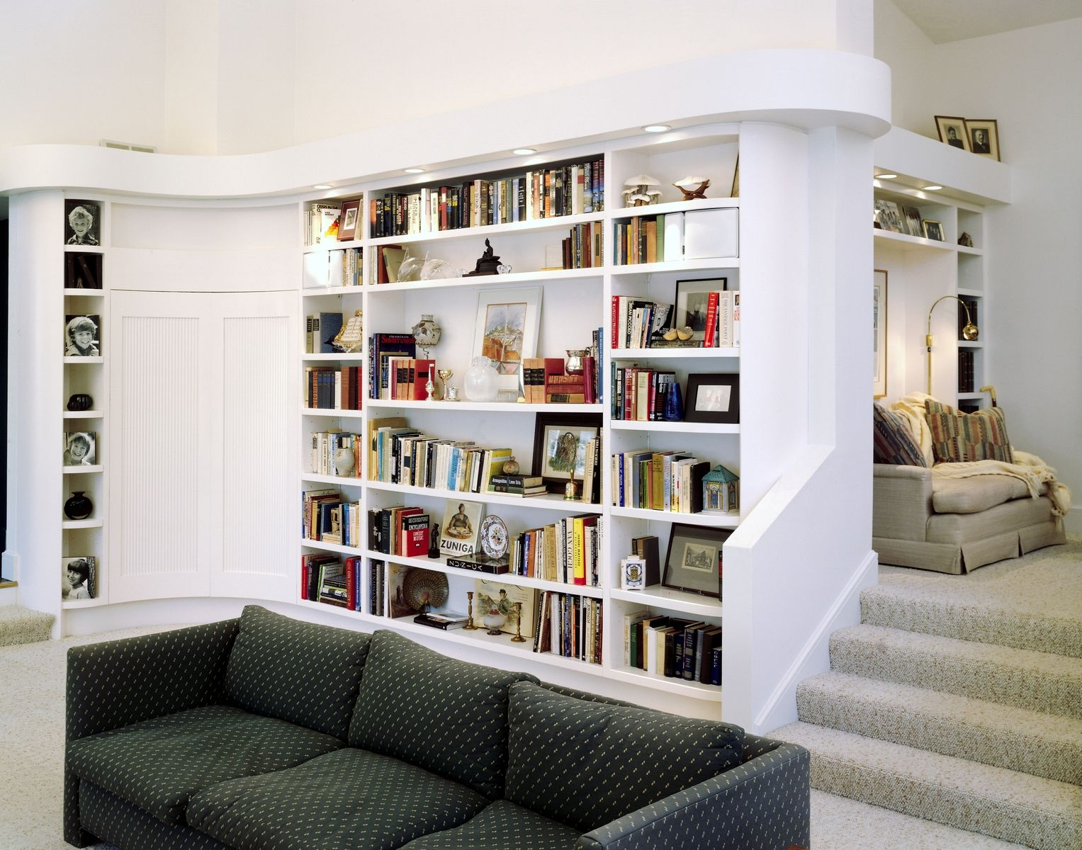 Image of: White L Shaped Bookcase