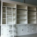 White Library Bookcase with Ladder