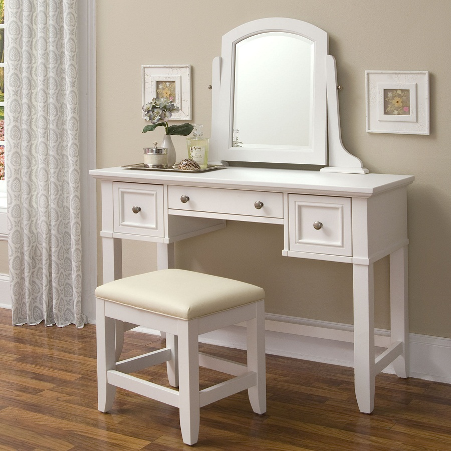 White Mirrored Vanity Desk