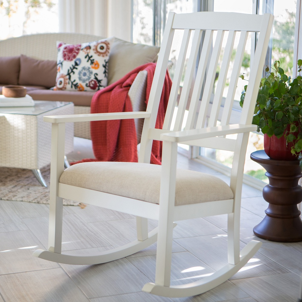 Image of: White Mission Style Rocking Chair