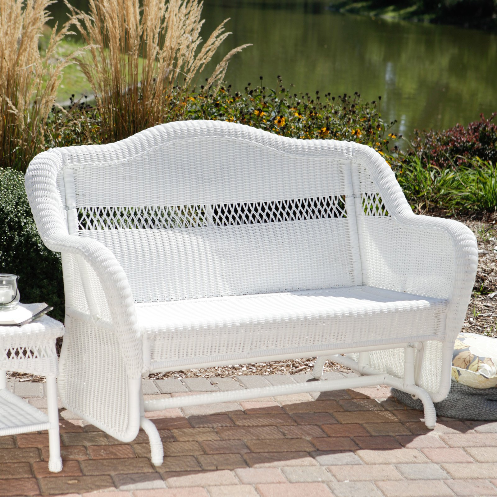 Image of: white outdoor glider chair